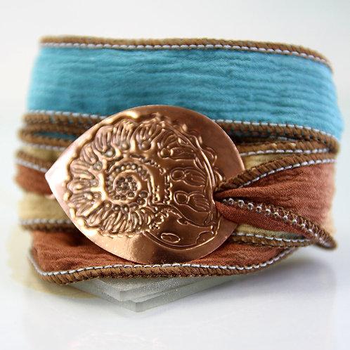 Copper Bracelet Ammonite Silk Wrap