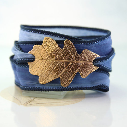 Wrap Bracelet with Bronze Oak Leaf