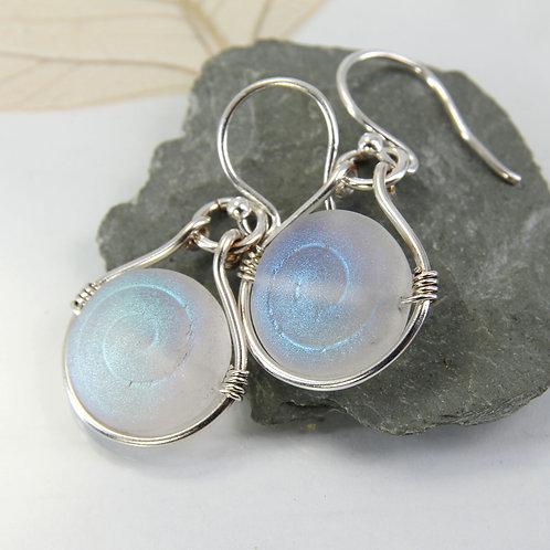 Mermaid Shell Earrings in Silver Frame