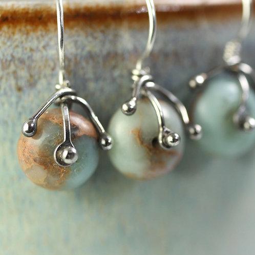 Jasper Earrings wrapped in Silver