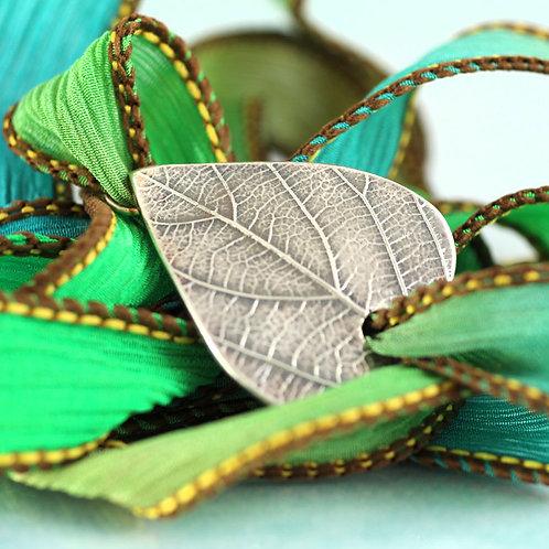 Wrist Wrapped Bracelet with Silver Leaf