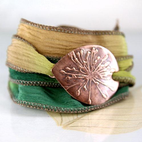 Copper Wildflower Bracelet with Silk Ribbon