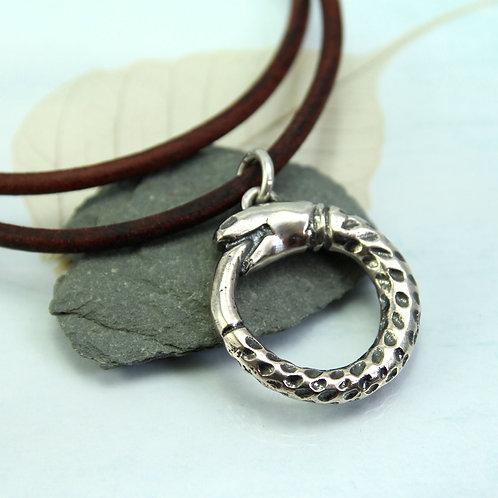 Midgard Snake Pendant in Sterling Silver