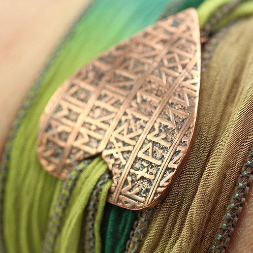 Copper Shield Bracelet Soft Silk Wrist Wrap