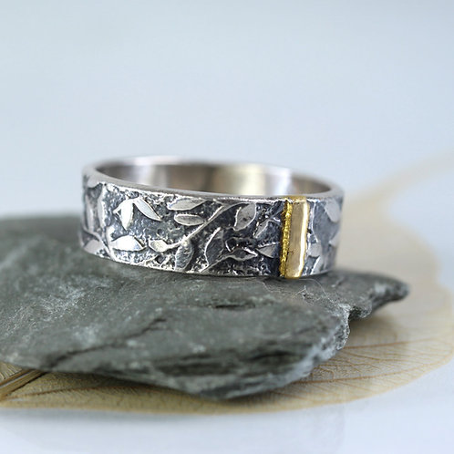 Leaves Ring Wide Silver Band w- Gold Detail
