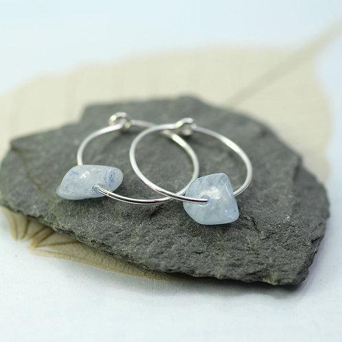 Silver Hoops with gemstones Silver Aquamarine