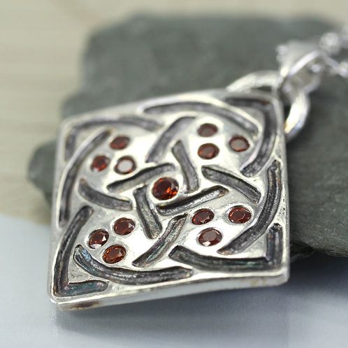 Square Celtic Pendant with red stones