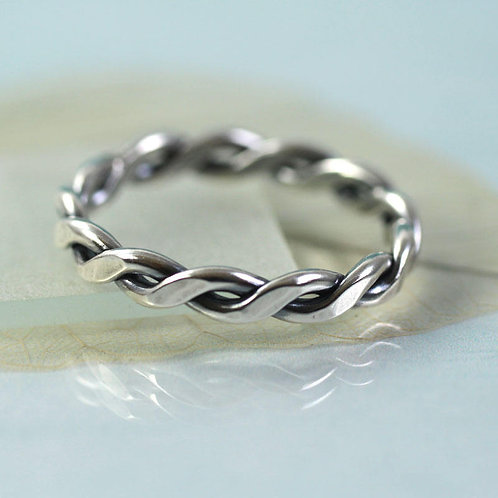 Silver Rope Ring 1.5 mm Wire Celtic Twist