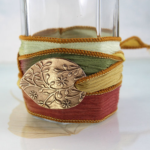 Bronze Clematis Silk Wrap Bracelet