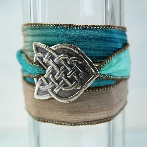 Celtic Silver Bracelet with Braid Pattern on Silk Ribbon Wrap