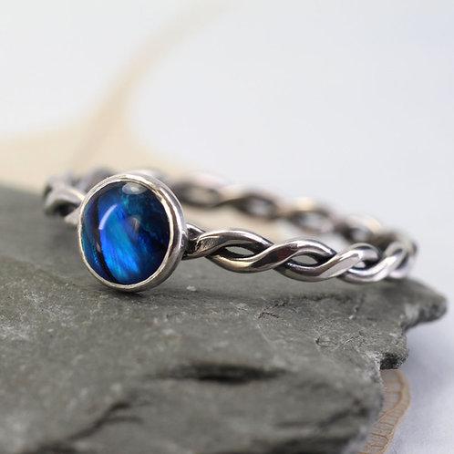 Silver Abalone Ring - Mermaid Stacking Ring