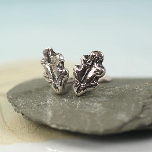 Silver Oak Leaf Studs Cute Woodland Earrings