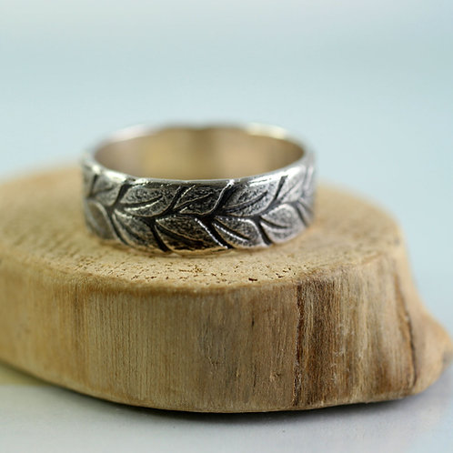 Silver Laurel Wreath Ring Wide Band