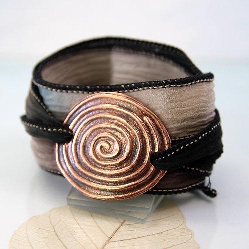Copper Spiral Bracelet Silk Wrist Wrap