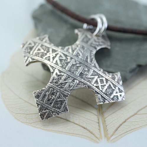 Viking Silver Cross Pendant with Rune Pattern