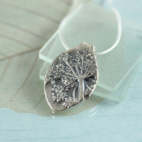 Silver Nature Necklace  Flower Pendant