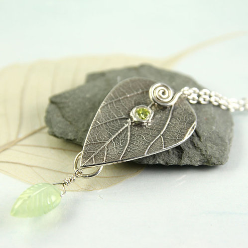 Peridot Necklace Silver Leaf Necklace