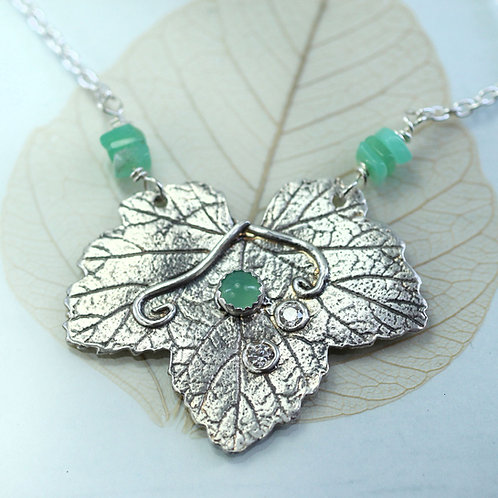 Leaf Pendant with Chrysoprase Stones and CZ sparkles