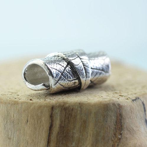 Silver Leaf Tube Bead - Fine Silver