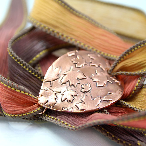 Copper and Silk Cuff Bracelet with Falling Leaves