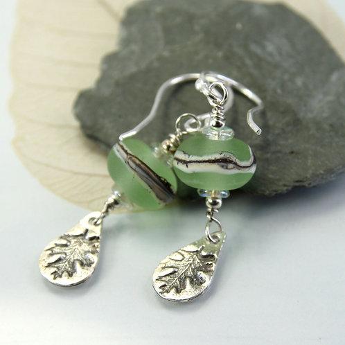Spring Earrings with Oak Leaf Dangles