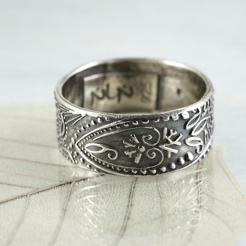 Wide Silver Band Ring - Paisley Pattern Wide Band