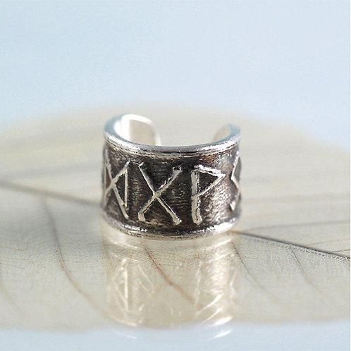 Silver Ear Cuff with Custom Viking Runes