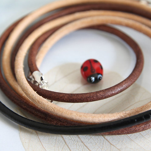 Leather Necklace with Sterling Silver Clasp 3 mm