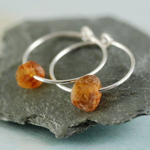 Silver Amber Hoops  Sterling Sleeper Earrings