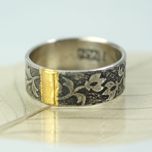 Tulip Ring Wide Silver Band