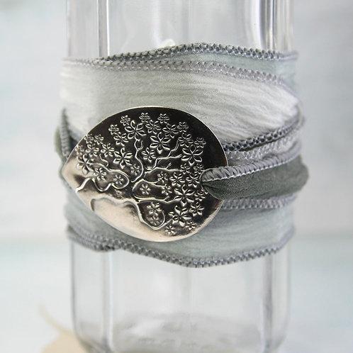 Tree-of-Life Bracelet with Handmade Silver & Silk