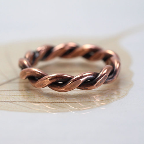 Celtic Copper Ring Twisted 2mm Wire - Chunky Thumb Ring