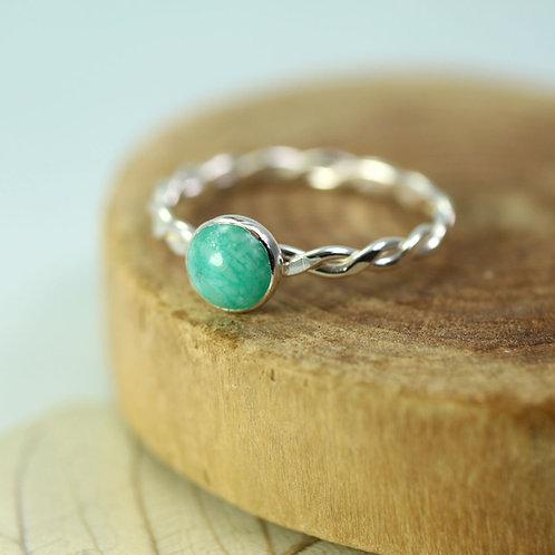 Silver Amazonite Ring -Twist stacking ring