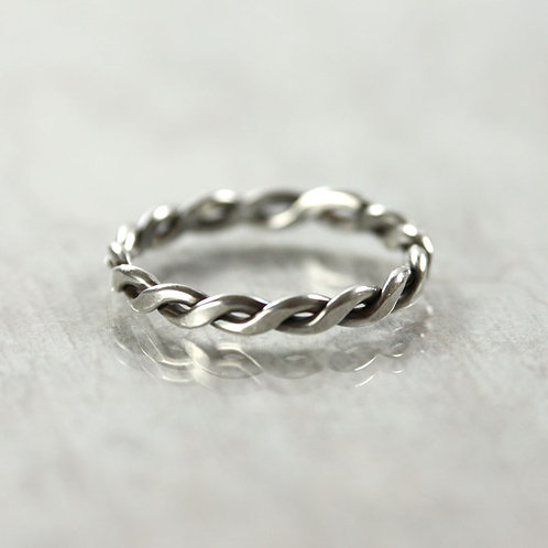 Silver Twist Ring 1.2 mm Wire - Rope Stacking Ring