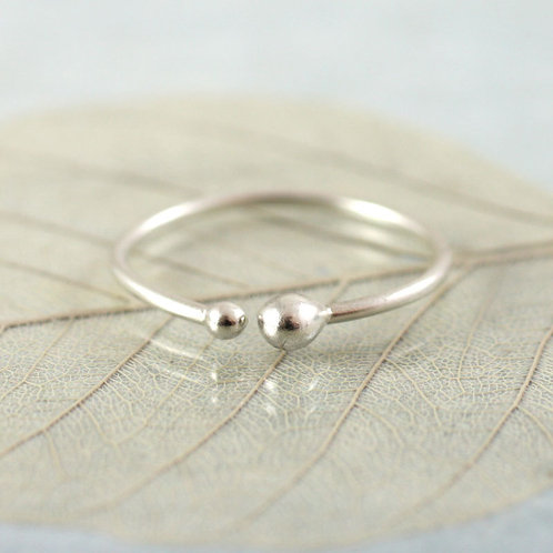 Silver Stacking Ring with Small and Tiny Dots