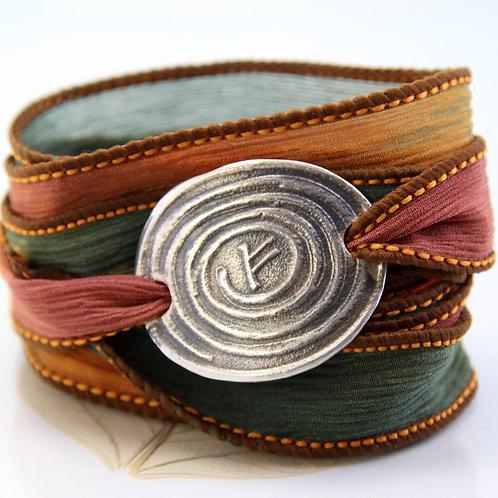 Silver Bracelet Spiral & Silk Ribbon