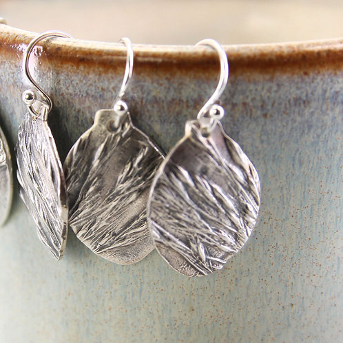 Silver Wild Grass Earrings Bud Shape