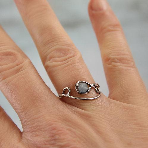 Silver Aquamarine Ring Twisted Viking Style