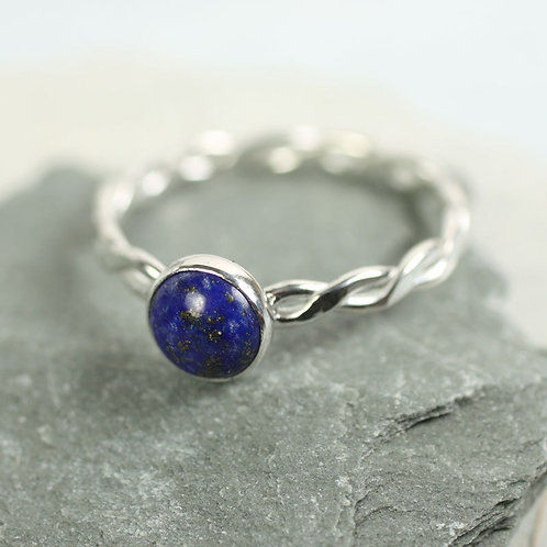 Lapis Lazuli Silver Twist Ring - Sterling Silver