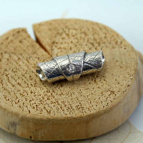 Silver Leaf Tube Bead with sparkly CZ