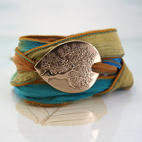 Bronze Tree of Life Silk Wrap Bracelet