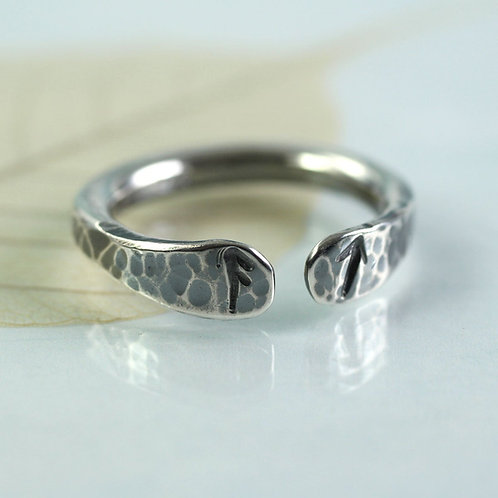 Open Silver Rune Ring Stamped with Two Runes
