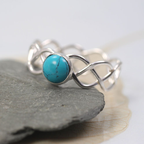 Braided Silver Ring Set With Turquoise