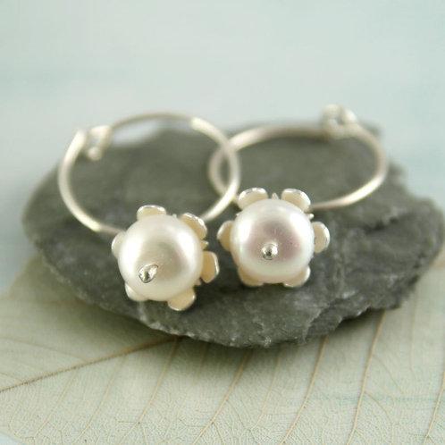 Pearl Dangle Hoops Silver Sleeper Earrings