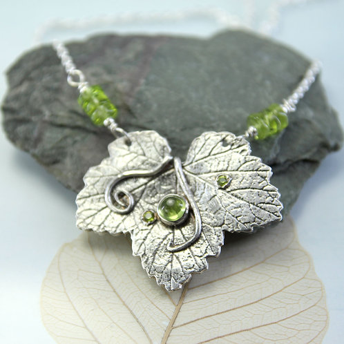Leaf Pendant with Peridot and Green Nano sparkles