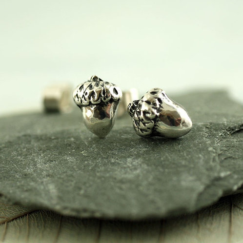 Silver Acorn Studs Post Earrings Cute Woodland