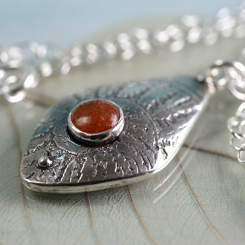 Fern Silver Pendant with Sunstone Gem