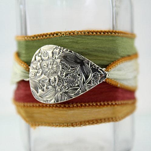 Silver Flower Bracelet on Soft Silk Ribbon Wrap Bracelet