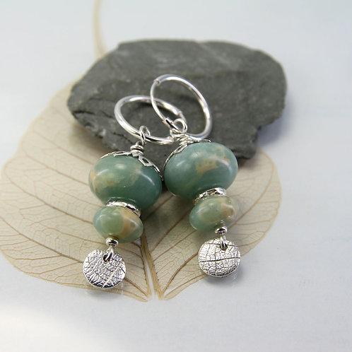 Aqua Jasper Stack Earrings in Silver