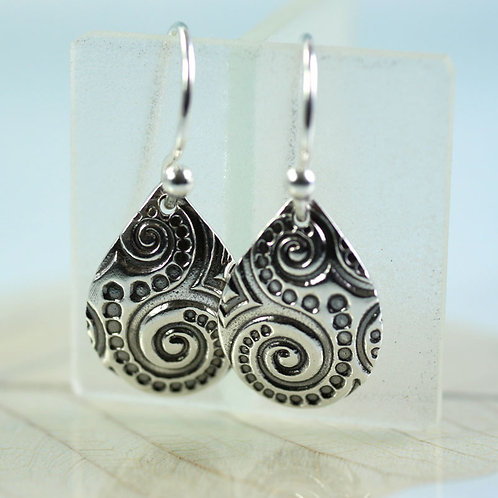 Silver Spiral Pattern Earrings Petal Dangle
